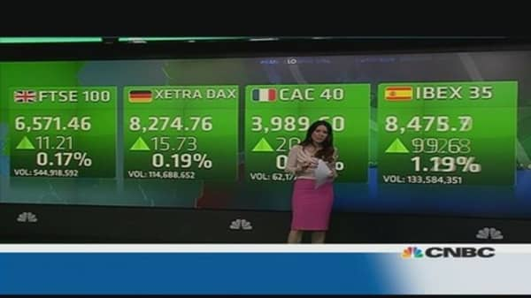 Europe shares close higher despite mixed data