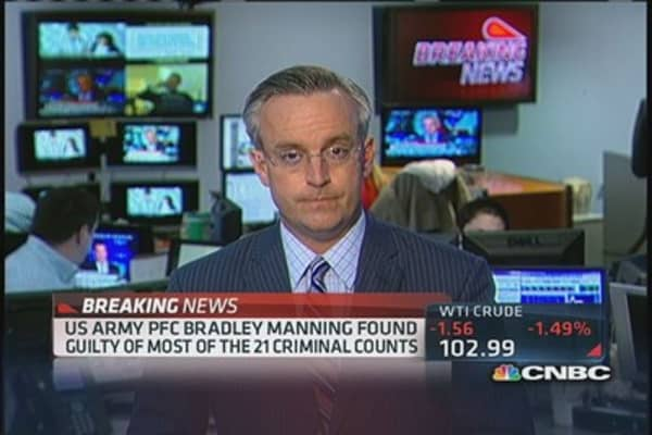 Manning 'not guilty' of aiding enemy