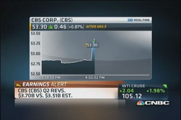 CBS reports better than expected earnings