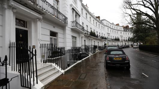 Terraced houses on Egerton Crescent in the Kensington and Chelsea borough of London.