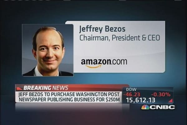 Jeff Bezos to acquire Washington Post
