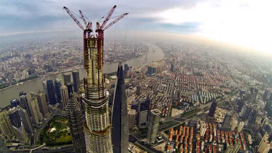 A view of the under-construction Shanghai Tower