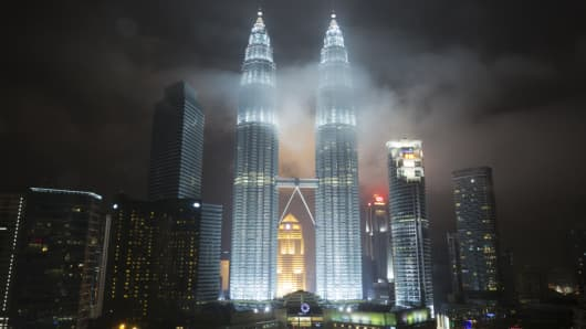 The Petronas Twin Towers and the Kuala Lumpur skyline