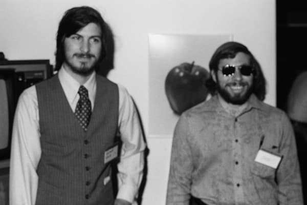 Steve Jobs, left, and Steve Wozniak in 1977