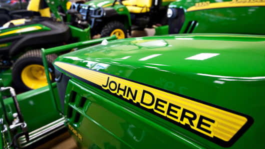 John Deere tractors sits on display at Klein Equipment, a John Deere dealership, in Galesburg, Ill.