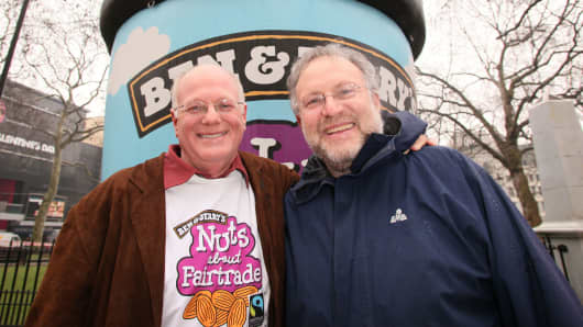 Ben Cohen and Jerry Greenfield, co-founders of Ben & Jerry's Icecream
