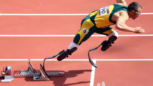 Oscar Pistorius competing in the London Olympics in 2012