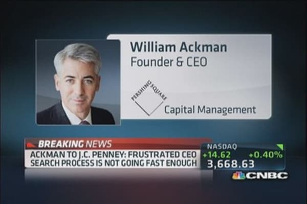 Ackman wants new JCP CEO to be in place in 45 days