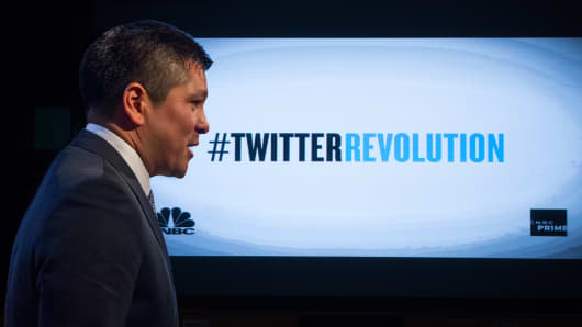 Carl Quintanilla host a screening of CNBC Prime's Twitter Revolution at 30 Rock in New York City.