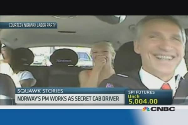 Norway's prime minister turns cabbie for a day