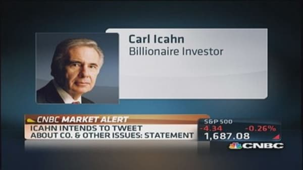 Icahn intends to tweet stock ideas