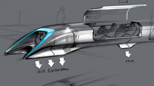 Hyperloop passenger transport capsule conceptual design sketch.