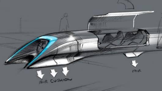 Hyperloop passenger transport capsule conceptual design sketch.