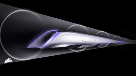 A conceptual rendering shows the Hyperloop passenger pod inside a low-pressure transit tube.