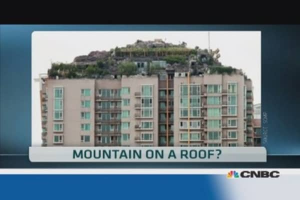 A mountain palace on a roof?