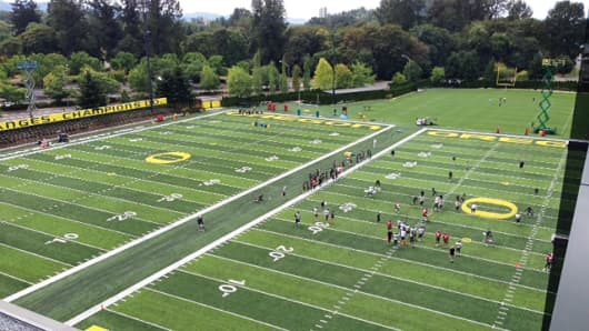 Two of three new practice fields at the University of Oregon's new football facility.