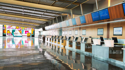 Expanded ticket lobby at the San Diego International Airport.