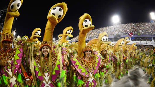 Revelers of Mangueira samba school perform during the second night of Carnival parades at the Sambadrome in Rio de Janeiro.