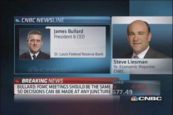 Bullard: FOMC needs to see more data before tapering