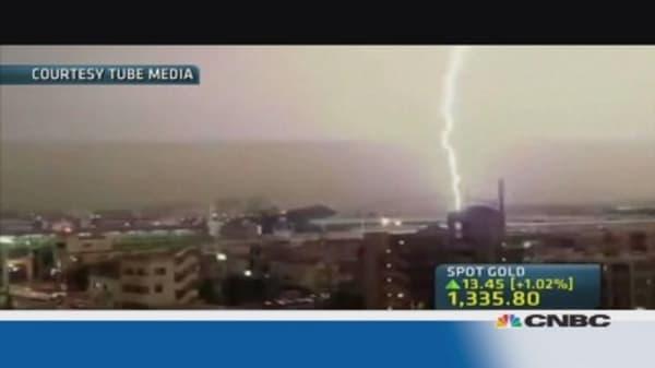 Commuter train struck by lightning