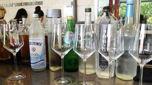 A line up of waters offered on the Ray's and Stark water menu in Los Angeles.
