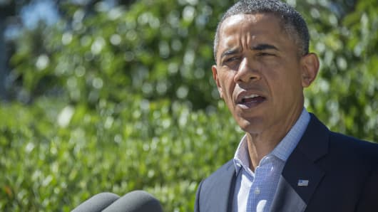 President Barack Obama makes a statement on Egypt August 15, 2013, in Chilmark, Massachusetts.
