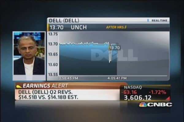 Dell up after reporting Q2 earnings