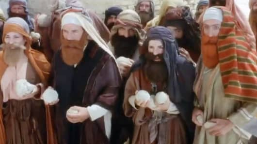 "The stoning scene from Monty Python's ""Life of Brian."""