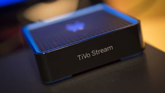A TiVo Inc. Stream device is displayed at Pepcom DigitalFocus in New York.