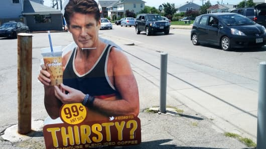 Roadside ad showing David Hasselhoff for Cumberland Farms Iced Coffee