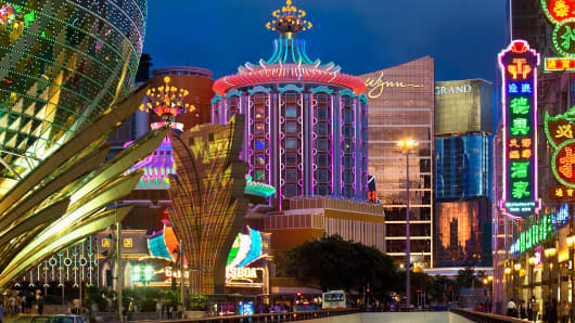 Casinos in Macau, China.