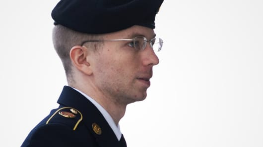 Manning arrives at a military court Wednesday to hear his sentence.