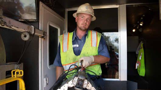 Levi Oleson at his job at Pro-Pipe in Sandy, Utah