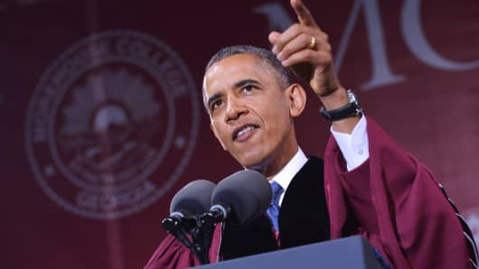President Obama delivers the commencement address at Morehouse College in May.