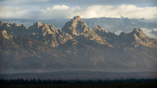 The Tetons are the backdrop to the Federal Reserve's annual economic symposium in Jackson Hole, Wyoming.