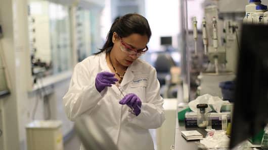 A Biogen Idec lab technician