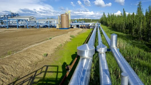 Pipes carry recovered bitumen from Devon Energy's Jackfish Projects processing plant, Alberta, Canada.
