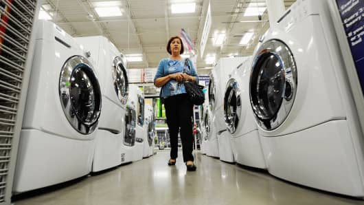 A customer shops for washers and dryers at Lowe's in Burbank, California.