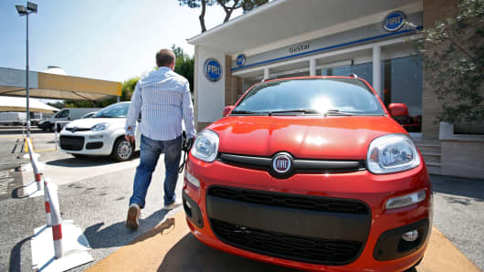 A 2013 Fiat Panda at a dealership in Rome