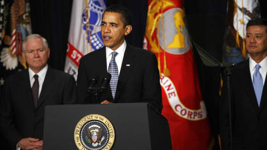 President Barack Obama speaks on improving veterans health care at the Eisenhower Executive Office Building in Washington DC, back on April 09, 2009.