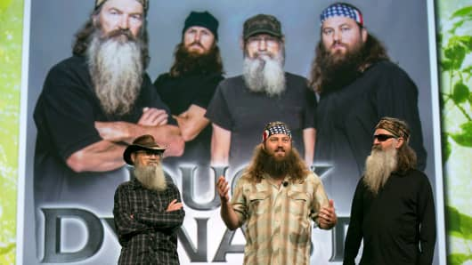"Television personalities, left to right,  Si Robertson, Willie Robertson and Phil Robertson from A&E Television Networks' ""Duck Dynasty."""