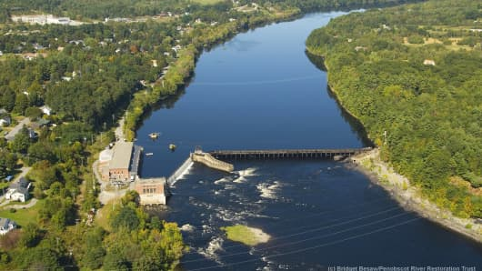 The Veazie Dam, the lowermost dam on Maine's Penobscot River, has been blocking Atlantic salmon and other species of sea-run fish from reaching their spawning habitat for nearly two centuries. The Veazie Dam removal has begun this summer.