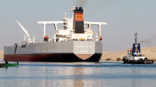 A crude oil tanker navigates the Suez Canal.