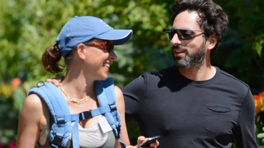 Sergey Brin  and Anne Wojcicki in Sun Valley, Idaho, last year.