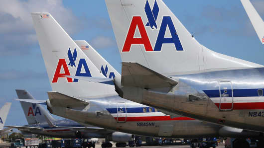 File photo of American Airlines planes