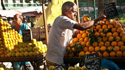 A produce stand in Rio de Janeiro