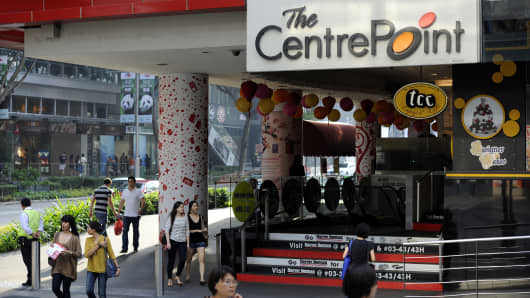 The Centrepoint mall on the Orchard Road shopping strip managed by Singapore-based REIT Frasers Centrepoint Trust.