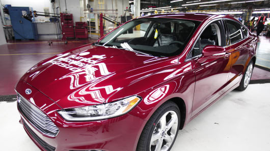The first Ford Fusion made in the U.S., at Ford's assembly plant in Flat Rock, Mich.