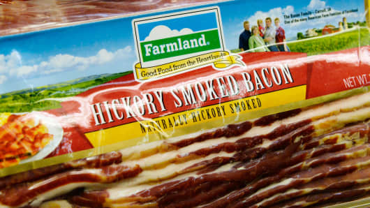 Farmland's hickory smoked bacon. Farmland is a brand owned by Smithfield Foods Inc.