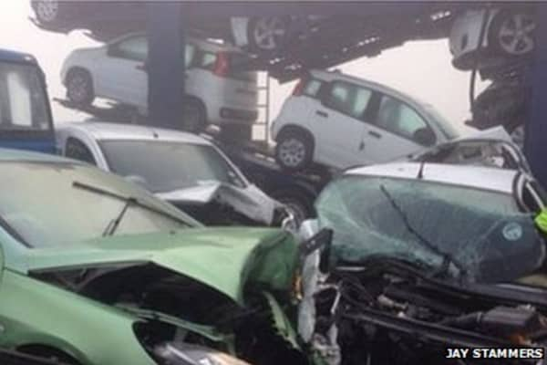100 cars crash on Sheppey bridge in the U.K.